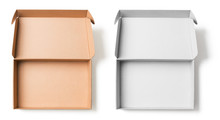 Open Cardboard Boxes Top View Isolated With No Shadows Clipping Path Included