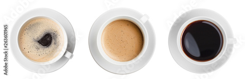 Photo coffee cup top view set isolated
