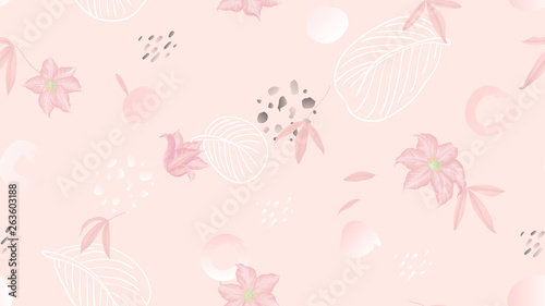Seamless pattern, flowers, leaves and hand drawn graphics on light pink background, soft pink tones