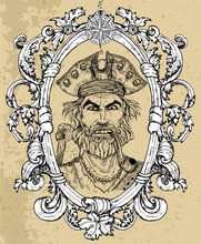Portrait Of Angry Pirate Captain With Beard And Parrot On Texture Background