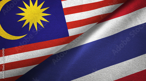 Fotografía  Malaysia and Thailand two flags textile cloth, fabric texture