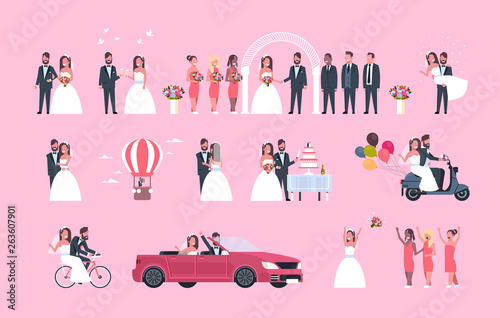 Garden Poster Cartoon cars set just married man woman standing together different concepts collection romantic couple bride and groom in love wedding day celebration full length horizontal flat