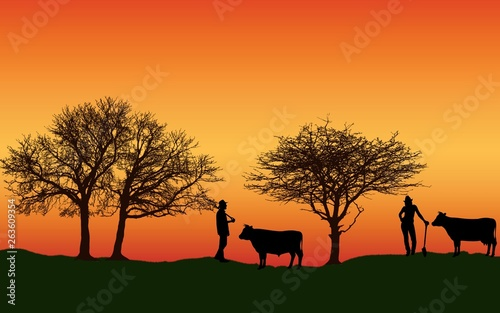 Poster Afrique du Sud Farm with Cow farmer, tree, golden sky at sunset Silhouette Background illustration