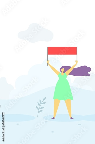 Agitating Woman with Flag over Head Flat Banner Canvas Print