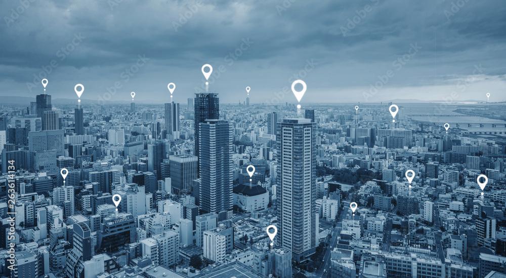 Fototapeta Map pin GPS navigation technology, and wireless technology in the city
