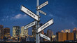 Famous travel destination city in Japan on directional road sign, Travelling choices in Japan, Asia