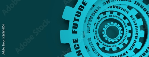 Fotografie, Obraz  Technology relative words on the mechanism of gears