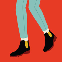 Women Legs And Feet With Stylish Colorful Footwear (bright Shoes). Flat Design Style. Vector Illustration.