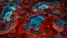 Glowing Topographic Map 3D Rendering Illustration