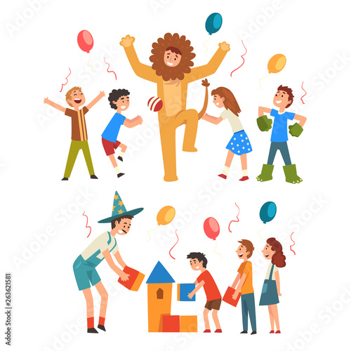 Happy Boys and Girls Having Fun with Animator at Birthday, Entertainers in Funny Festive Costumes Performing and Playing with Children Vector Illustration