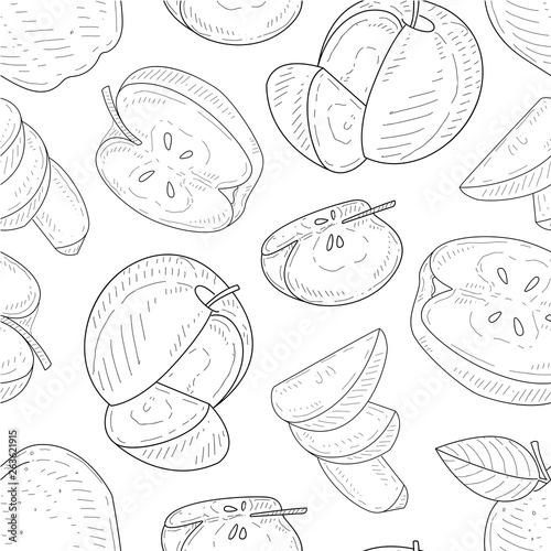 fototapeta na szkło Apples Seamless Pattern, Monochrome Hand Drawn Whole and Sliced Apples Vector Illustration