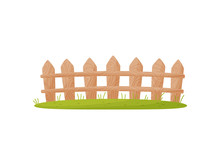 Wooden Fence Isolated On White Background With Grass.
