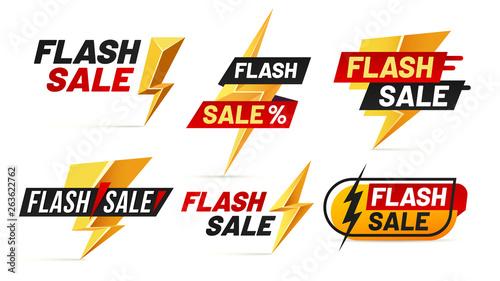 Obraz Flash sale. Mega sales lightning badges, best deal lightnings poster and buy only today offer badge vector illustration set - fototapety do salonu