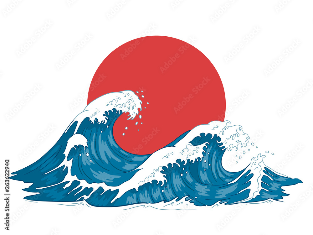 Fototapety, obrazy: Japanese wave. Japanese big waves, raging ocean and vintage sea water vector illustration