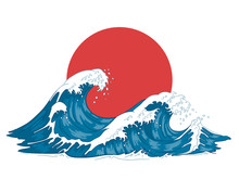 Japanese Wave. Japanese Big Waves, Raging Ocean And Vintage Sea Water Vector Illustration