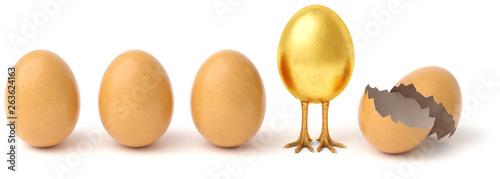 Fototapeta Row of chicken eggs. One golden egg with golden chicken feet and one Broken Egg Shell. isolated on a white background. obraz