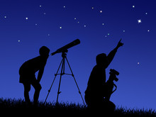 Father And Son Study The Starry Sky