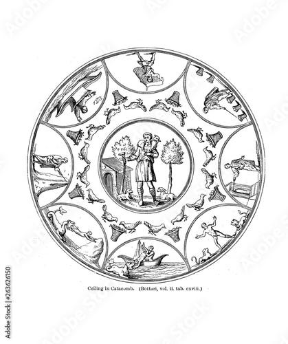 Fototapeta Christian illustration. Old image