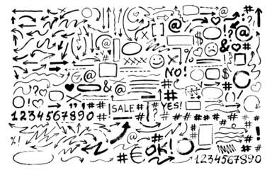 Set of hand drawn arrows, icons, hashtags. Social symbols.
