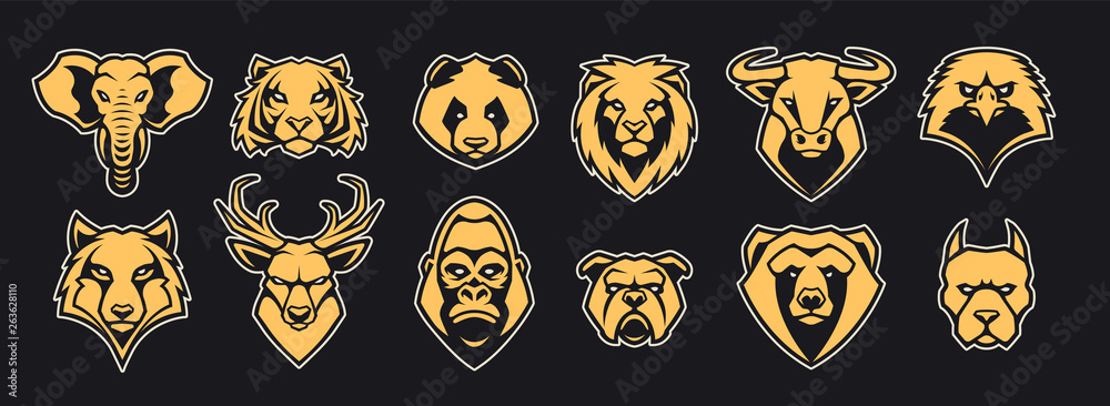 Fototapeta Animals Head Mascot Icons Vector Set