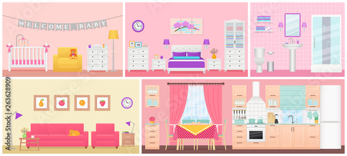 Room Interiors Vector Living Room Bedroom Bathroom