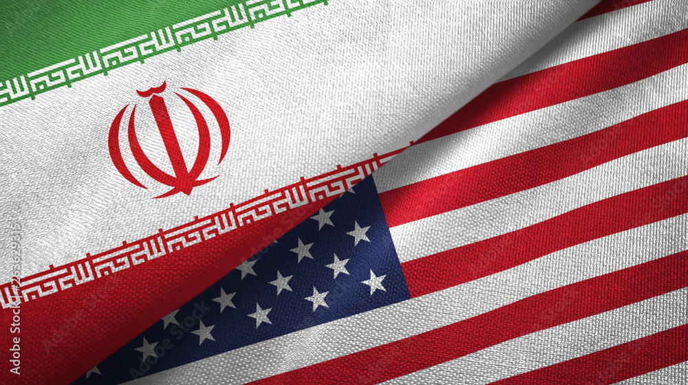 Fototapety, obrazy: Iran and United States two flags textile cloth, fabric texture