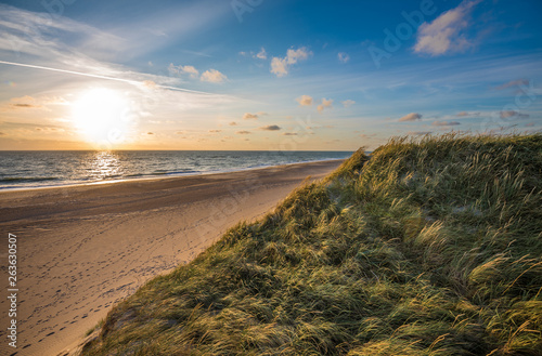 Cuadros en Lienzo North sea beach, Jutland coast in Denmark