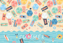 Summer Background. Vector Illustration Of Sunbathing People On The Beach And Swimming In The Sea. Drawing By Hand The Summer Holiday Season, Rest, Relaxation And Summer.
