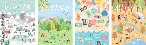 Vector posters of the seasons: winter, spring, summer, autumn; Illustrations of people and families in nature and the landscape, on holiday on the beach, in the park and in the city. Top view