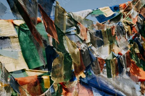 Fotografie, Obraz  Tibetan flag (lung ta) used to pray