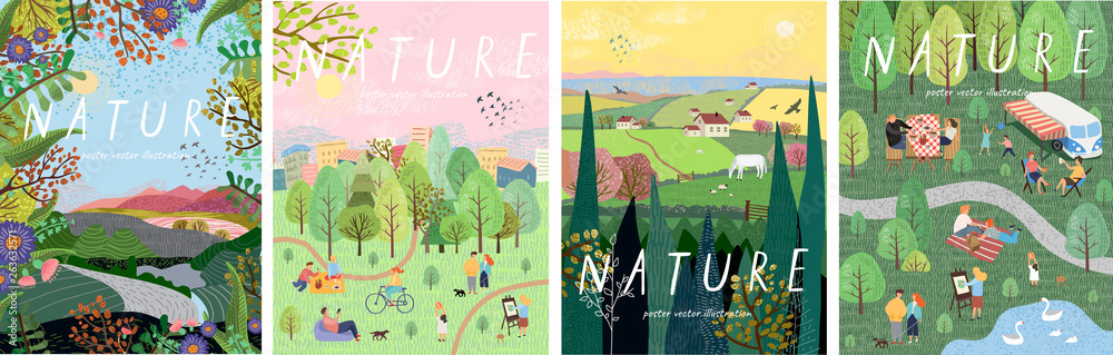 Fototapeta Nature. Cute vector illustration of landscape natural background, village, people on vacation in the park at a picnic, forest and trees. Drawings from the hand of summer and spring