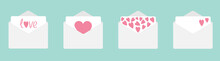 Four Envelope With Hearts Set Line. Happy Valentines Day. Love Card. Flat Design. Blue Background. Isolated.