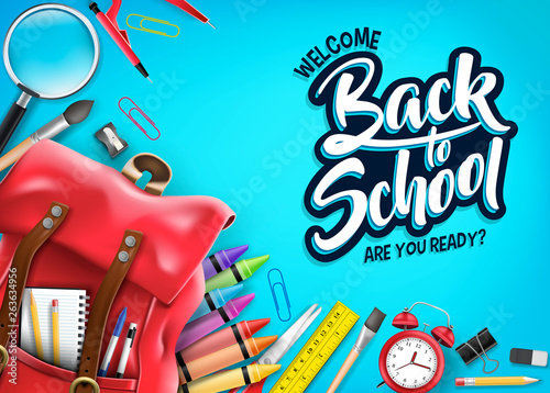 Top View Back to School In Blue Background Banner with Red Backpack and School Supplies Like Notebook, Pen, Pencil, Colors, Ruler, Magnifying Glass, Eraser, Paper Clip, Sharpener, Alarm Clock and Pain