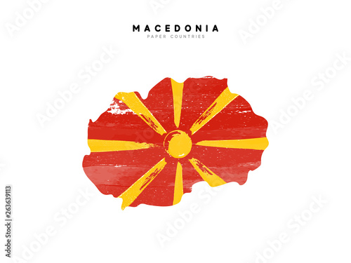Macedonia detailed map with flag of country Wallpaper Mural