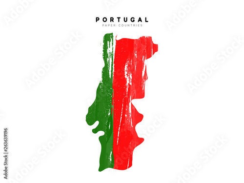 Photo Portugal detailed map with flag of country