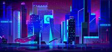 Night City With Neon Illuminat...