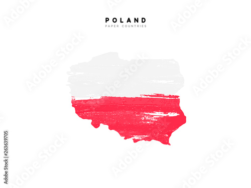 Poland detailed map with flag of country Canvas Print