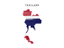 Thailand Detailed Map With Flag Of Country. Painted In Watercolor Paint Colors In The National Flag