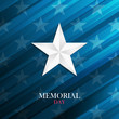 USA Memorial Day card with silver star on blue background. Vector illustration.