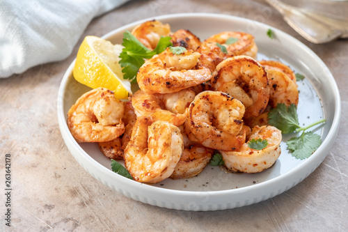 Fototapeta Spicy garlic chilli Prawns Shrimps obraz