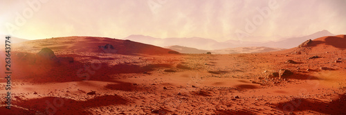 Photo Stands Brick landscape on planet Mars, scenic desert on the red planet (3d space rendering banner)