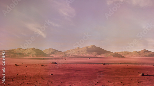 Foto auf AluDibond Dunkelgrau landscape on planet Mars, scenic desert surrounded by mountains red planet surface scene (3d space rendering)