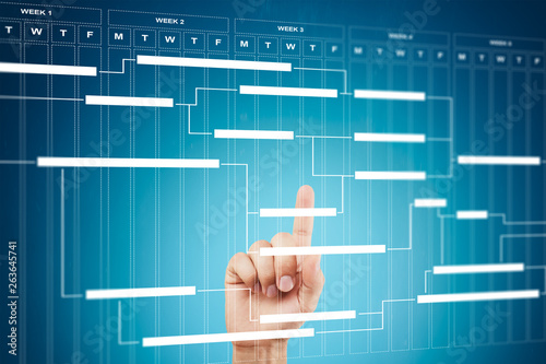 Fototapety, obrazy: Project management chart on virtual screen. Schedule. Timeline.