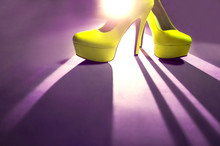 Yellow High Heels With Unusual Light.  Fashion Concept, Catwalk
