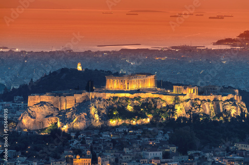 Athens skyline and the Acropolis hill with Parthenon, from the Mt Lykavitos, Athens, Greece