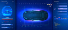 Modern  Futuristic Car Dashboardand Touch Screen. HUD(Head Up Display), GUI(Graphical User Interface) And Digital Speedometer. Autonomous Car. Futuristic Car Service, Scanning And Auto Data Analysis.