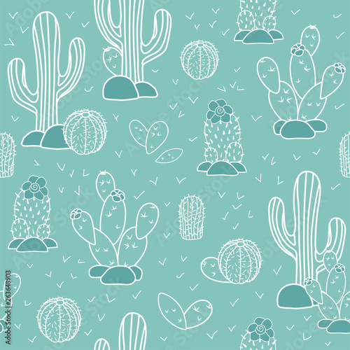 Seamless vector pattern with cactuses and succulents. Home garden cartoon cactuses for wallpaper, curtain, tablecloth.