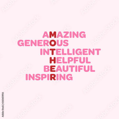 Photo Happy Mother's Day greeting card with anagram including words amazing, beautiful, helpful and inspiring