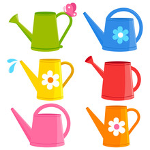 Colorful Watering Cans. Vector...