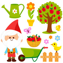Gardening Illustration Collection With Garden Gnome, Flowers, Plants, Wheelbarrow And Gardening Equipment In Springtime. Vector Illustration